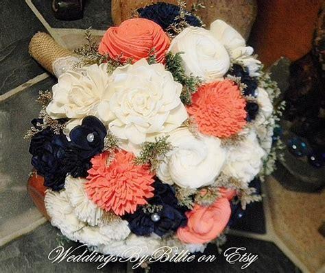 coral flowers coral navy blue weddings coral navy bouquet burlap lace sola bouquet