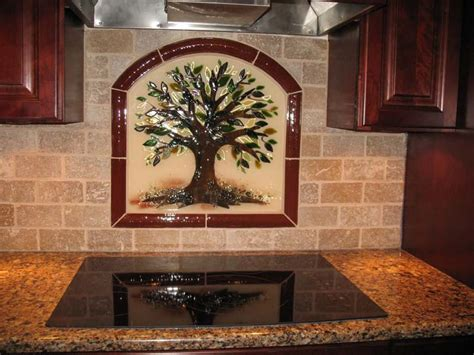 quot tree of quot kitchen backsplash in fused glass