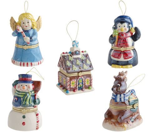 mr christmas set of 5 porcelain music box ornaments qvc com