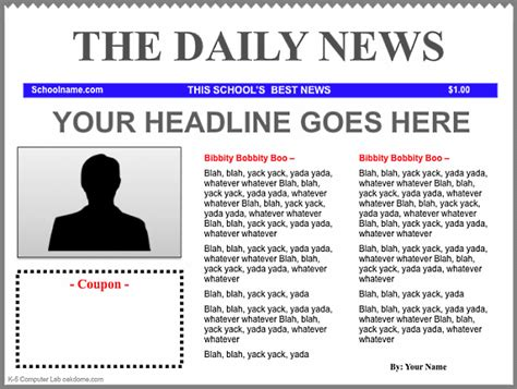 student newspaper template keynote newspaper templates k 5 computer lab