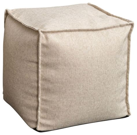 Modern Floor Pillows by Luther Fabric Cube Pouf Beige Modern Floor Pillows