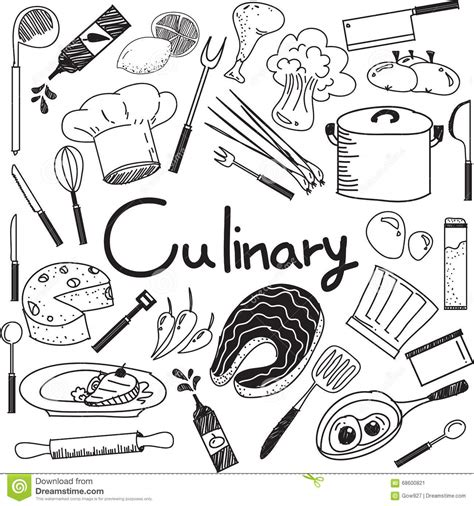 how to use doodle kit culinary and cooking doodle of food ingredients and tool