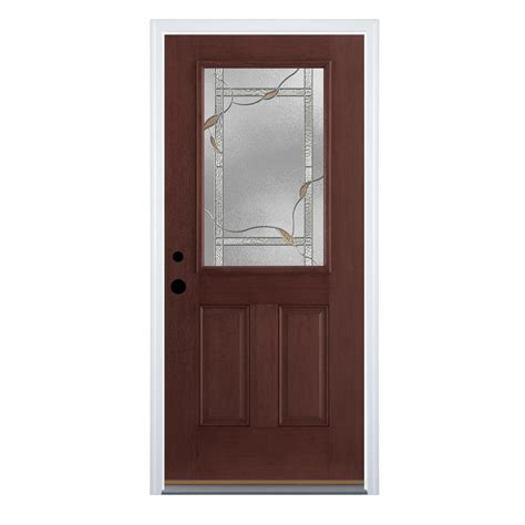 Half Lite Exterior Door Shop Therma Tru Benchmark Doors Half Lite Decorative Mahogany Prehung Inswing Fiberglass Entry
