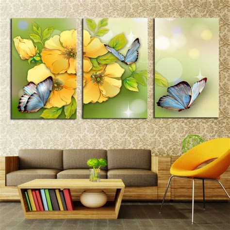 modern home decor hd prints oil painting on canvas white 3 piece yellow flower and butterfly modern home wall decor