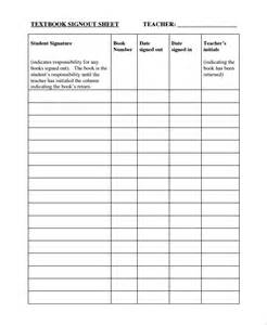 Book Sign Out Sheet Template by Sle Classroom Sign Out Sheet 8 Free Documents
