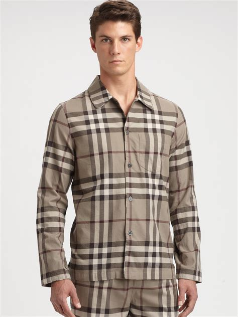 lyst burberry check pajama set in brown for