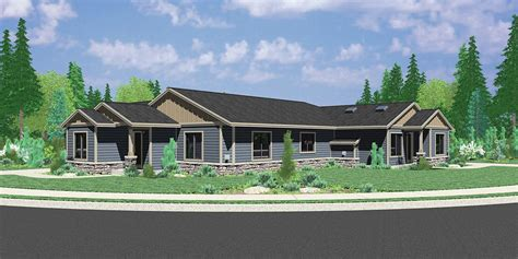 single story duplex house plans single story duplex house plan corner lot duplex house plan d497