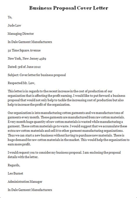 inspirational sle cover letter for a business proposal
