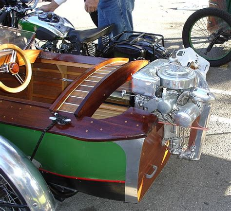 motorcycle boat fold up outboard motor on boat sidecar with bsa motorcycle