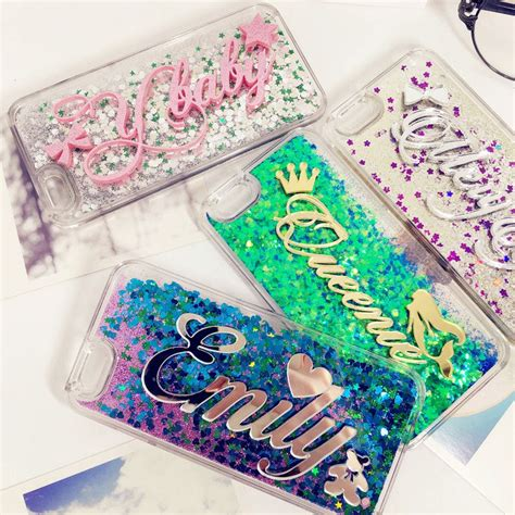 Iphone 5 Sai 7 Plus Custom Softcase Casing Sinar Ba 007 aliexpress buy exclusive customize name liquid glitter soft for iphone 5 5s se 6 6s 7
