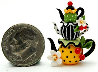 Custom Mini Teapots by Cherry Blossom Stacked Teapot By Wee Ooak Miniatures On