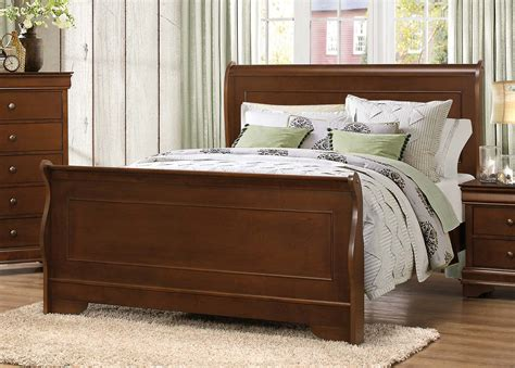 homelegance abbeville sleigh bed brown cherry 1856 1