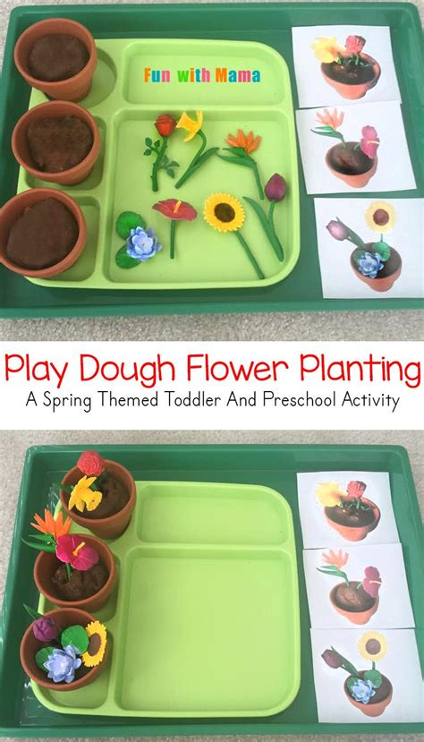 spring themed work events preschool spring flower planting play dough activity