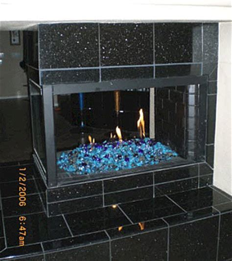 v blue fireglass for outdoor and indoor features