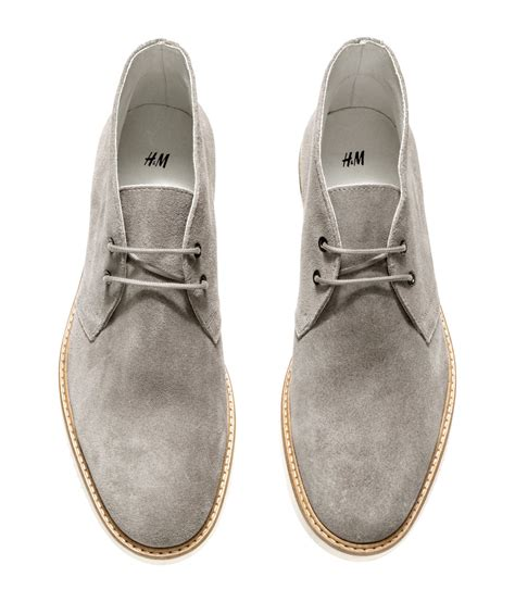 gray suede boots h m suede desert boots in gray for lyst