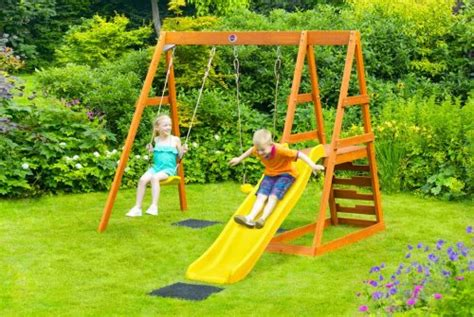 swing multithreading plum tamarin wooden play centre with wavy slide 163 150 00
