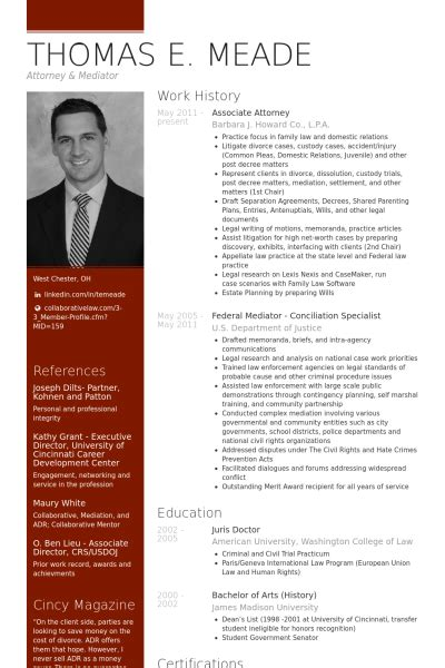 attorney resume sles visualcv resume sles database