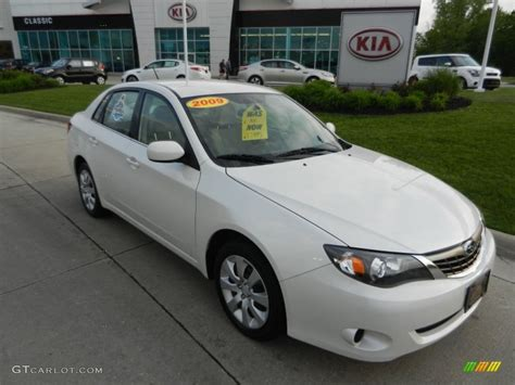 subaru sedan white 2009 satin white pearl subaru impreza 2 5i sedan 65185117