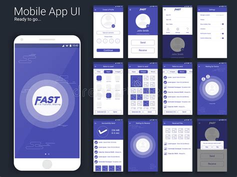 mobile layout menu file transfer and sharing mobile app ui layout stock