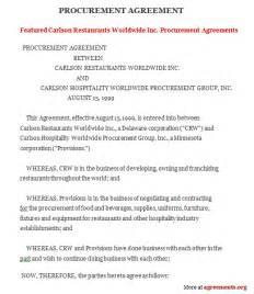 procurement contract agreement sample procurement
