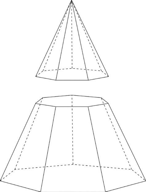 pyramid haircut septagonal heptagonal pyramid cut by plane clipart etc