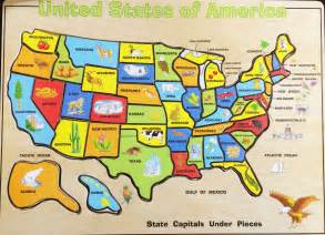 solving the united states map wood puzzle