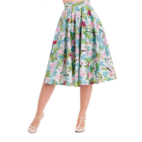 50s swing skirt hell bunny tropical flamingo rockabilly vintage 50s jive