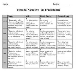 Essay Grading Rubric High School by Six Traits Writing Personal Narrative Rubric 4th Grade Search Rubrics