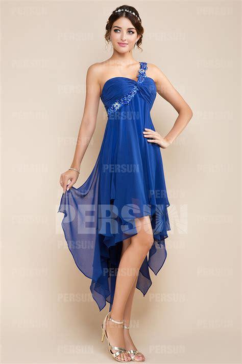 Robe Courte Devant Longue Derriere Soiree - robe bleu asym 233 trique dos d 233 coup 233 courte devant longue