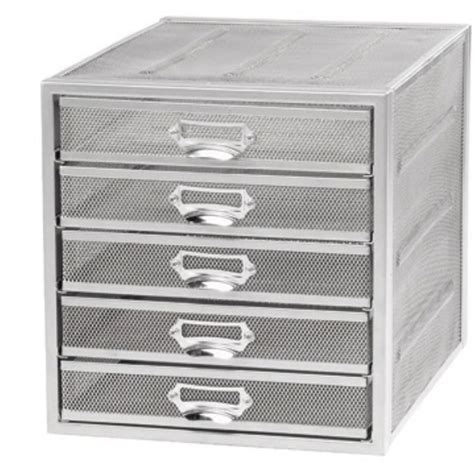 Silver Drawer by Mesh 5 Drawer Sorter Silver Staples 174
