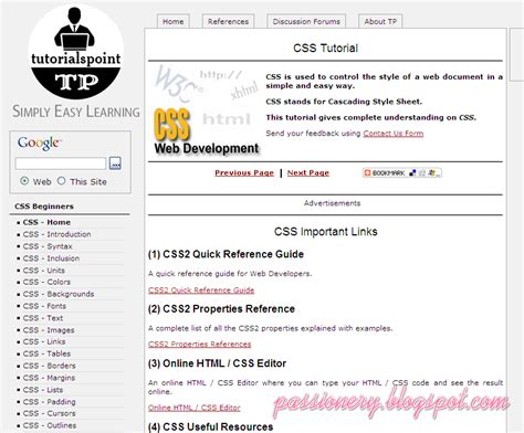 tutorialspoint html and css 8 trang web hay để học css passionery