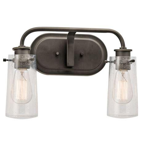 Glass Shades For Bathroom Vanity Lights Kichler 45458oz Olde Bronze Braelyn 2 Light 15 Quot Wide Vanity Light Bathroom Fixture With Seedy