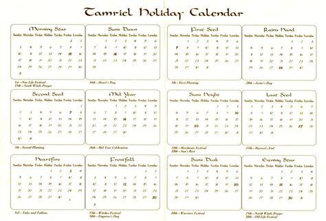 Elder Scrolls Calendar Calendar Of Tamriel The Imperial Library