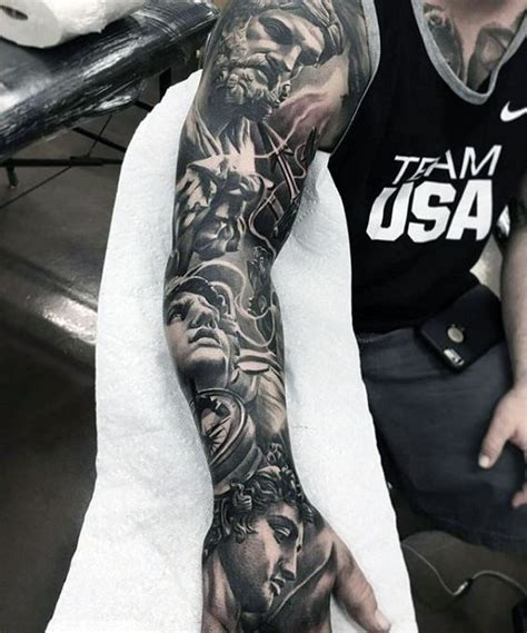 greek gods unique male full arm sleeve tattoos 写实