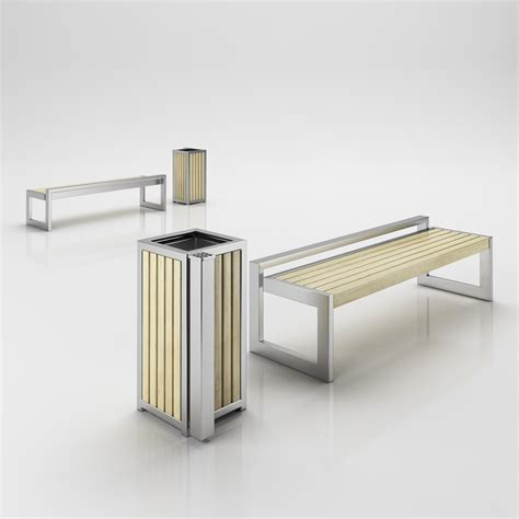 modern metal bench contemporary metal wood bench with matched trash can 3d