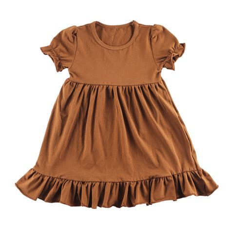clothes 100 cotton brown dress for parti