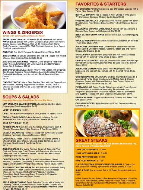 j house menu menu for davie ale house 2080 s university dr