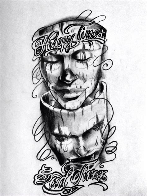 happy sad mask tattoo designs happy sad smile now cry later tattoos