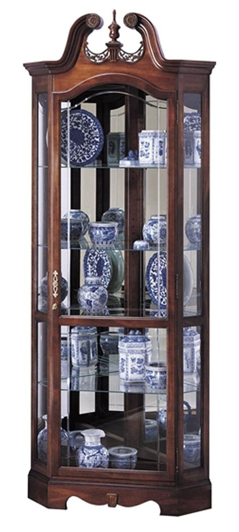 cherry corner curio cabinet beveled glass interior