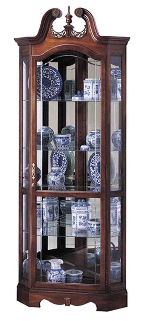 Cherry Corner Curio Cabinet   Beveled Glass & Interior