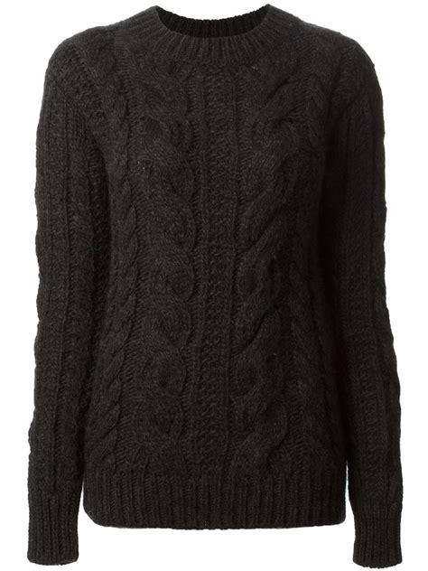 black knit sweater belstaff cable knit sweater in black lyst
