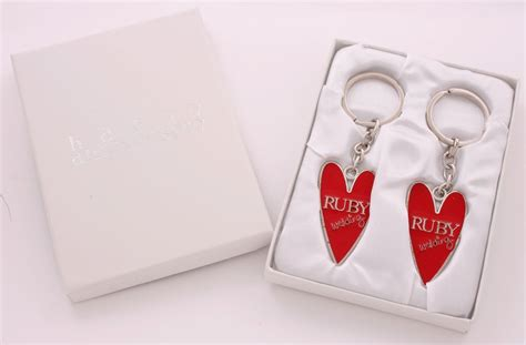 Wedding Anniversary Keyring by Ruby Wedding Key Rings In A Satin Lined Presentation Gift