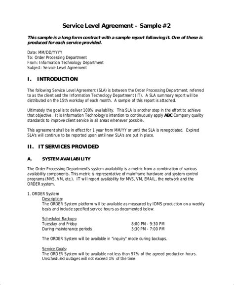 sample service level agreement  examples  word