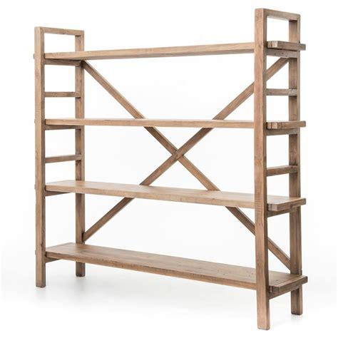 patton rustic lodge reclaimed wood open bookshelf kathy