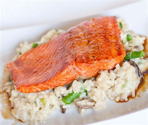 salmon and risotto glazed salmon with shitake risotto tatyanas everyday food
