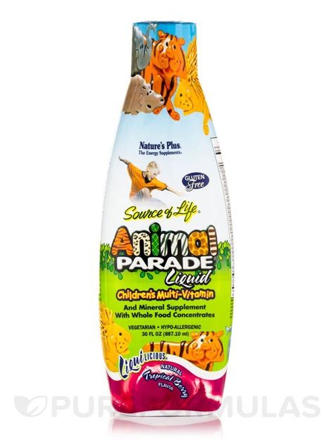 Natures Plus Animal Parade Children Multivitamin 8 Oz animal parade 174 children s liquid multivitamin mineral supplement tropical berry