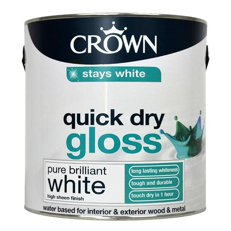 gloss paint crown quick dry gloss paint pure brilliant white 2 5l at