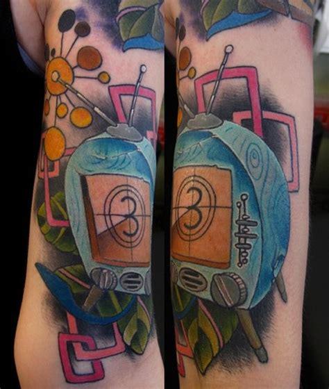 tattoo arm vintage vintage tv set color arm tattoo by jon von glahn tattoonow