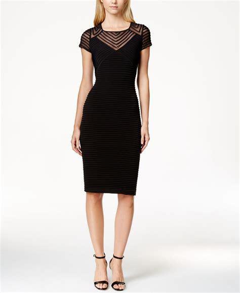 Cap Sleeve Sheath Dress calvin klein cap sleeve banded sheath dress in black lyst