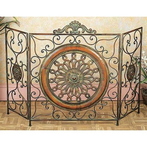 metal classic rustic antique finish style fireplace screen